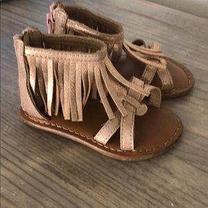 Gold Sparkly Gladiator sandals w fringe ankles!